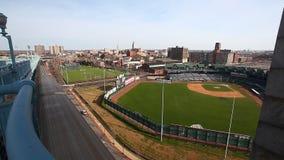 Rutgers University sports fields from the Benjamin Franklin Bridge stock video footage