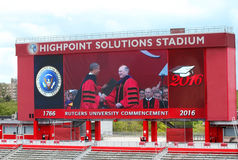 Rutgers Universiy Commencement. Dr. Robert Barachi, President of Rutgers University, awards Barack Obama' an honorary degree at the 250th Anniversary Stock Image