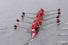 Rutgers Women's Crew races in the Head of Charles Regatta Women's Master Eights Royalty Free Stock Photography