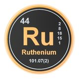 Ruthenium Ru chemical element. 3D rendering. Isolated on white background vector illustration
