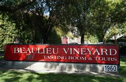 Sign in front of the Beaulieu Vineyard in Napa Valley. Stock Image