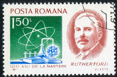 Rutherford. ROMANIA - CIRCA 1971: stamp printed by Romania, shows Baron Ernest R. Rutherford Royalty Free Stock Images