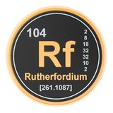 Rutherfordium Rf chemical element. 3D rendering. Isolated on white background vector illustration