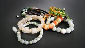 Rutielkwarts en Jade Beaded Bracelets royalty-vrije stock foto's