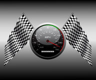 Rutig flagga och speedometeren. Royaltyfria Bilder