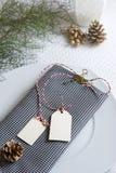 Rutig servett och etiketter, jultabell Arkivfoton