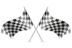 Rutiga flaggor för illustration för vektor för springa för bil Royaltyfri Bild