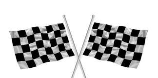 rutiga korsade flaggor Arkivfoto