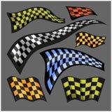 Rutiga Racing flaggor - vektoruppsättning Royaltyfri Bild
