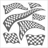 Rutiga Racing flaggor - vektoruppsättning Arkivfoto