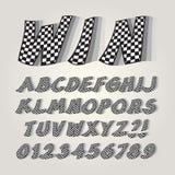 Rutigt flaggaalfabet och nummer vektor illustrationer