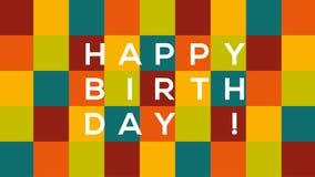 Rutigt kort för lycklig födelsedag med text som studsar och glider från en sida till andra på färgrik bakgrund arkivfilmer