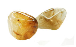Rutilated quartz geological crystals Royalty Free Stock Photos