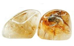 Rutilated rock ctystal quartz geode geological crystals Stock Photos