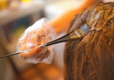 Rutina de la belleza del pelo del colorante con alheña natural Fotos de archivo