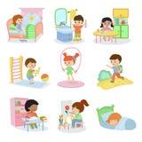 Rutina diaria de la actividad de los niños determinados del vector de las actividades diarias de los niños en el niño activo del  libre illustration