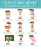 Rutina diaria de niños felices Elemento de Infographic Salud e higiene, rutinas diarias para los niños stock de ilustración