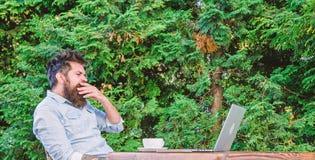 Rutina diaria del periodista del reportero Trabajo en l?nea Trabajador en l?nea de los medios de comunicaci?n Escriba el art?culo imagenes de archivo