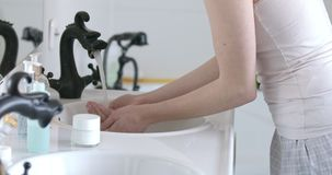 Rutine washing hands stock video footage