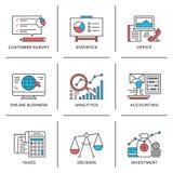 Rutinmässig linje symbolsuppsättning för affär och för finans royaltyfri illustrationer