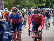 2019 Rutland-Melton Cicle Classic: Double Olympic Gold Medallist Ed Clancy and 2018 Winner Gabriel Cullaigh royalty free stock images