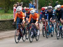 2019 Rutland-Melton Cicle Classic: Richardson Trek riders lead the Peloton. The Rutland-Melton Cicle Classic is a professional one day cycling race UCI stock photo