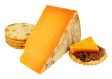 Rutland Red Cheese Wedge. Isolated on a white background stock photography