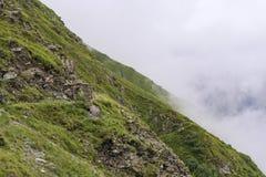 Rutt för hög höjd i berg Arkivbild