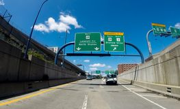 Rutt 93 N till Storrow drev, Boston, MOR Fotografering för Bildbyråer