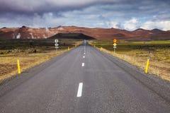 Rutt 1 Ring Road nära Krafla Myvatn nordöstra Island Skandinavien arkivbild