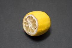 Rutten citron på svart bakgrund Arkivfoton