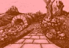 Rutten till ingenstans - illustration för sagaberättelsebok royaltyfri illustrationer