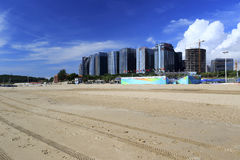 Rutting track on sand beach of guanyinshan business center Stock Photography