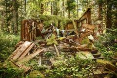 Ruttna det gamla skjulet i skog Arkivfoton