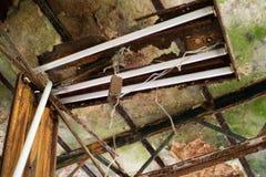 Ruttnat tak och skadat lysrörfast tillbehör i övergiven byggnad arkivbild