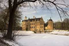 Ruurlo castle in a wintry landscape Royalty Free Stock Photos