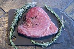 Ruw blauwvintonijnlapje vlees met rozemarijn en voedingsetiket Stock Foto's