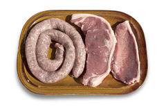 Ruw Boerewors en Lapje vlees Stock Fotografie