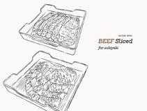 Ruw die rundvleesvlees in dienblad wordt gesneden Vector illustratie vector illustratie
