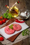Ruw Fijngehakt hamburgervlees Royalty-vrije Stock Foto