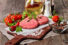 Ruw Fijngehakt hamburgervlees Royalty-vrije Stock Afbeeldingen