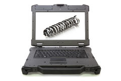 Ruw gemaakte laptop met vijlsel met achtergrond royalty-vrije stock foto
