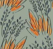 Ruw geschetst gras op groen stock illustratie