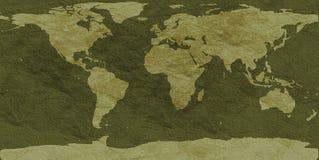 Ruw-geweven wereldkaart Stock Foto's