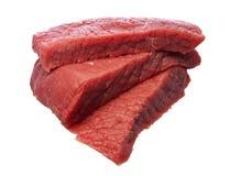 Ruw lapje vlees dat over wit wordt geïsoleerd Royalty-vrije Stock Fotografie