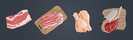 Ruw ongekookt vlees, varkensvleesfilet, baconplakken, kippenbenen, hamhough, rundvleesgerookte ham, heerlijke geplaatste barbecue stock illustratie