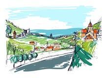 Ruw ontwerp van kleine Georgische stadsstraat, gebouwen en bomen tegen bergen op achtergrond Landschap met royalty-vrije illustratie