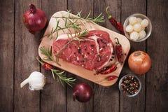 Ruw ribeyelapje vlees Stock Fotografie