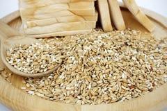 Ruw rijst en brood Stock Fotografie