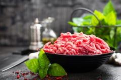 Ruw rundergehaktvlees Vers gehakt stock afbeeldingen